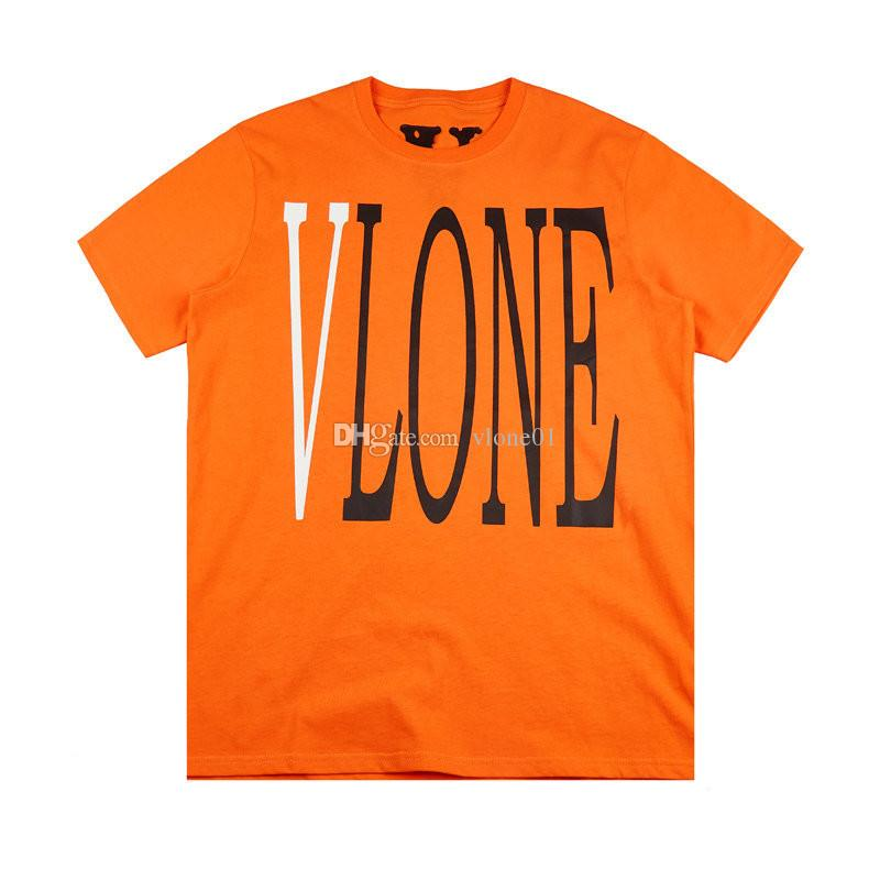 Vlone 남성 스타일리스트 T 셔츠 Vlone 친구 남성 여성 T 셔츠 높은 품질 블랙 화이트 오렌지 T 셔츠 티셔츠 사이즈 S-XL