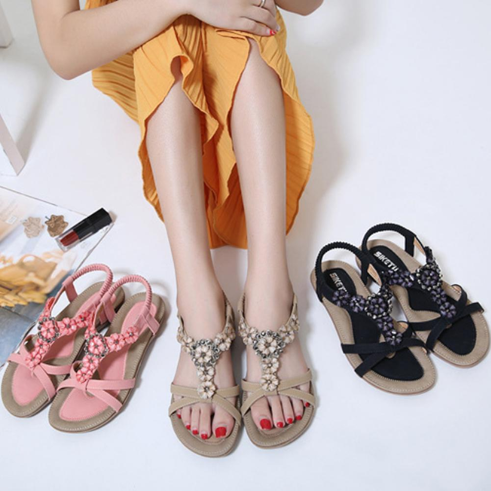 Venda quente-Mulheres Sapatos Casuais Tanga Bohemia Sapatos Chinelo Aberto-Toe Sandálias Flip Flops Clipe Toe Verão Flor Contas