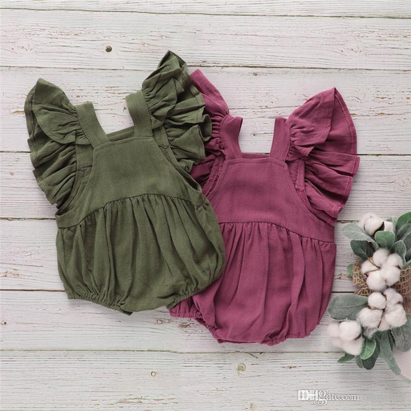 New Designs Summer Toddler Baby Girls Rompers INS Cotton Ruffles Sleeveless Square Collar Blank Jumpsuit Kids Bodysuit Baby Romper 3-18M
