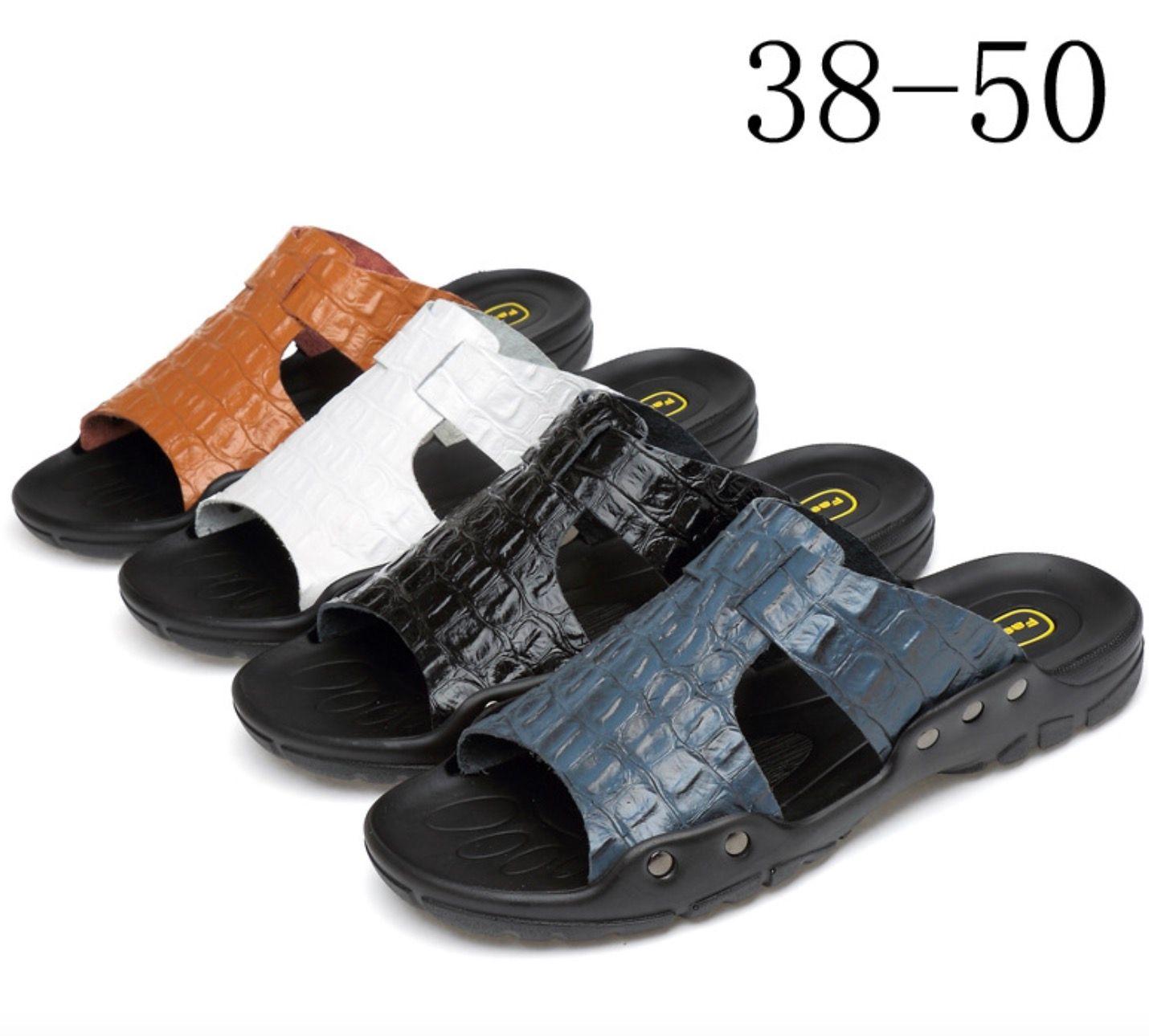 2019 cuero genuino de los hombres chanclas zapatillas de diseño de cocodrilo marca sandalias de verano Seaside Beach Flats zapatos de gran tamaño EE.UU. 7- 15