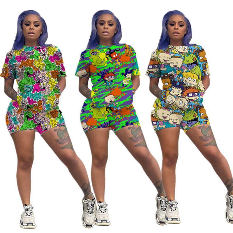 Drucken Cartoon-Kurzanzug Sommer Frauen Zweiteiler Outfits Kurzarm T-Shirt T-Shirt + Shorts Sportbekleidung Street Anzug S-3XL