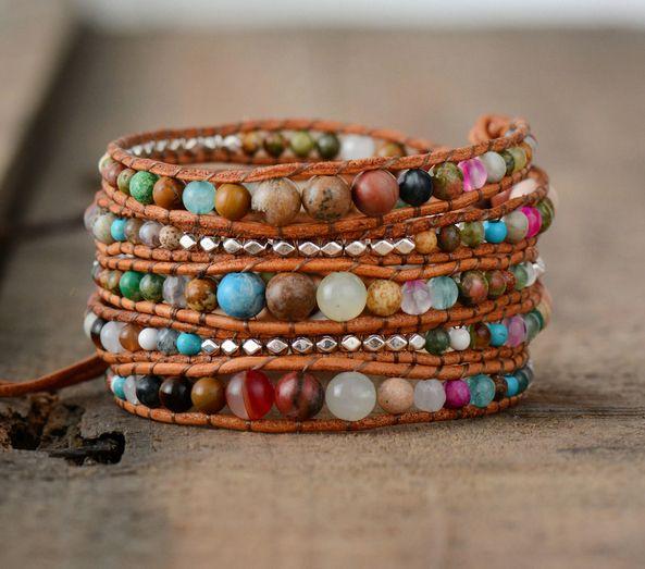 Leather Wrap Bracelets Dropshipping Women Graduated Natural Stones Silver Color Beads Multilayers Bracelets Wholesale J190721
