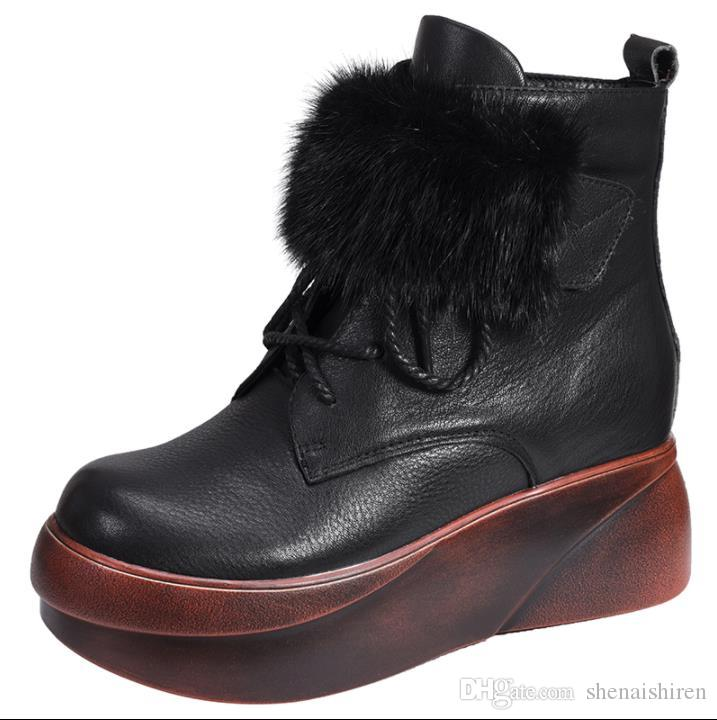 Autumn winter new model leather thick bottom costly snow boots boots of boots of cow skin bottom for women