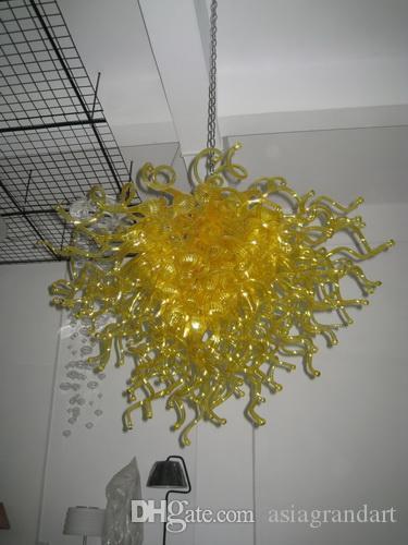 100 % 입 풍선 CE UL 붕규산 무라노 유리 데일 치 훌리 (Dale Chihuly) 예술 노란색 유리 펜던트 조명 피팅