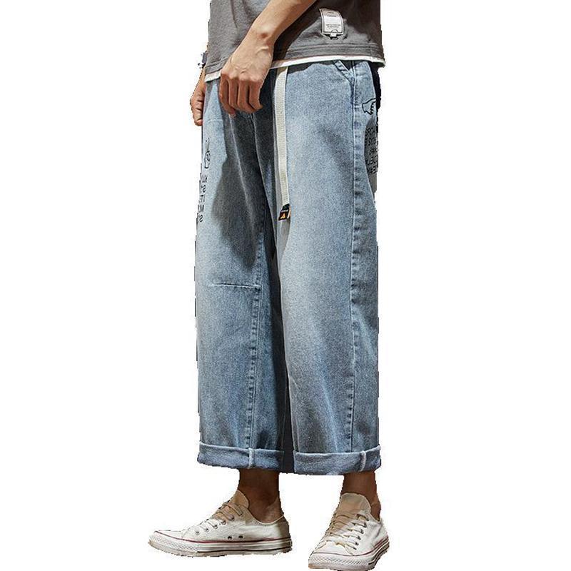 홍콩 스타일의 얇은 남성 청바지 스트레이트 아홉 포인트 바지를 풀어 한국 학생들 야생 캐주얼 9 점 바지 힙합 학생