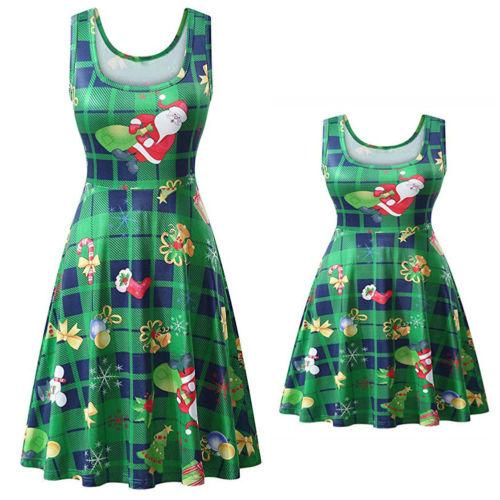 2018 Mommy and me family matching Christmas dress clothes Snowman Xmas mom and daughter dress kids parent child outfits