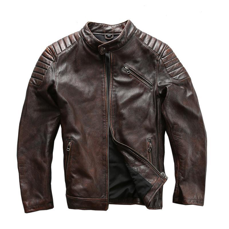 1820 descripción leída! El tamaño asiático súper chaqueta de motociclista de cuero de vaca capa de cuero de vaca genuina de los hombres de calidad