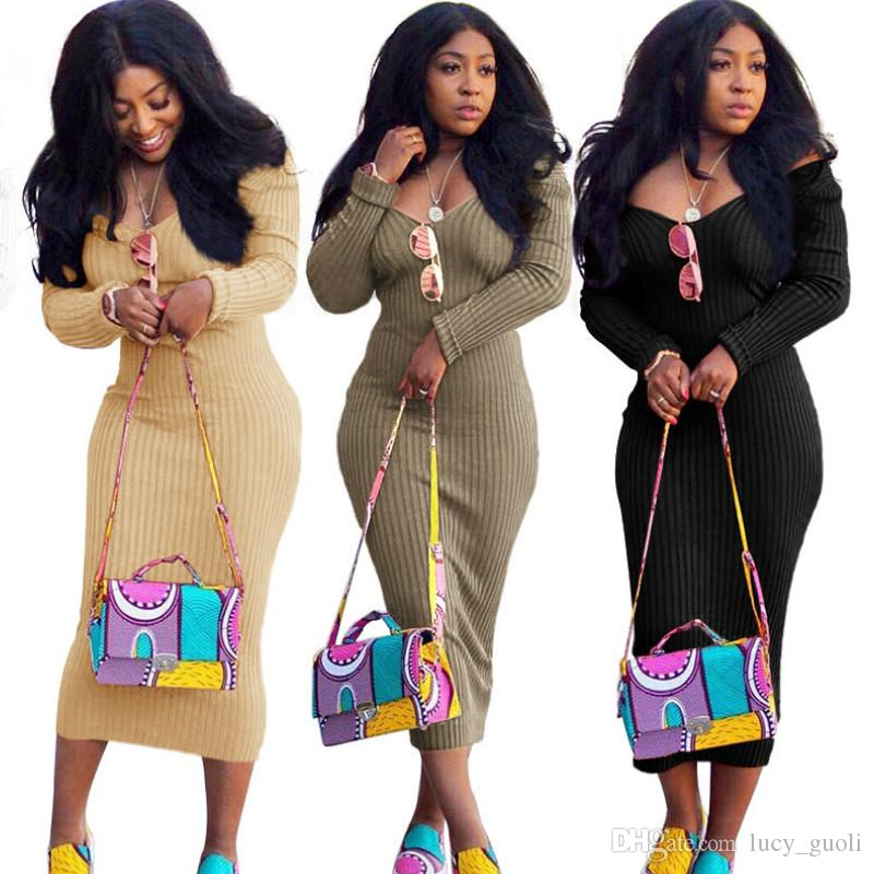 Women Autumn Winter Dresses Long Sleeve Sexy Knitted Women Dress Long Off Shoulder Bodycon Dresses Ribbed Robe Femme Sexy Club Party Dresses