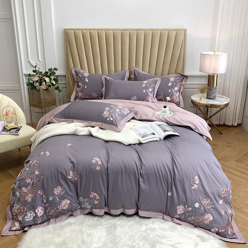 Luxury Purple Yellow Blue Elegant Flower Embroidery 60S Egyptian Cotton Duvet Cover Bed Sheet Bed Linen Pillowcases Bedding Set
