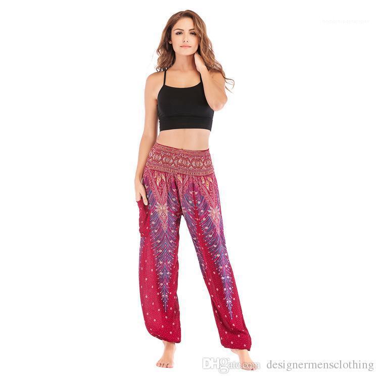 Allentato Sport fisica femminile Athletic Pantaloni donna pantaloni di yoga Pantalettes stampato casuale