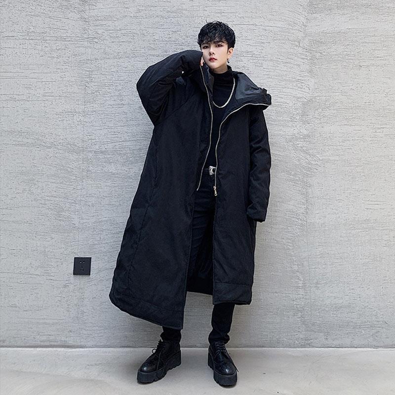 YENİ Erkekler Asimetri Hem Koyu Siyah Cadılar Bayramı Sihirbazı Kalın Uzun Parka Ceket Erkek Japonya Pamuk yastıklı Kapşonlu Kat Kabanlar