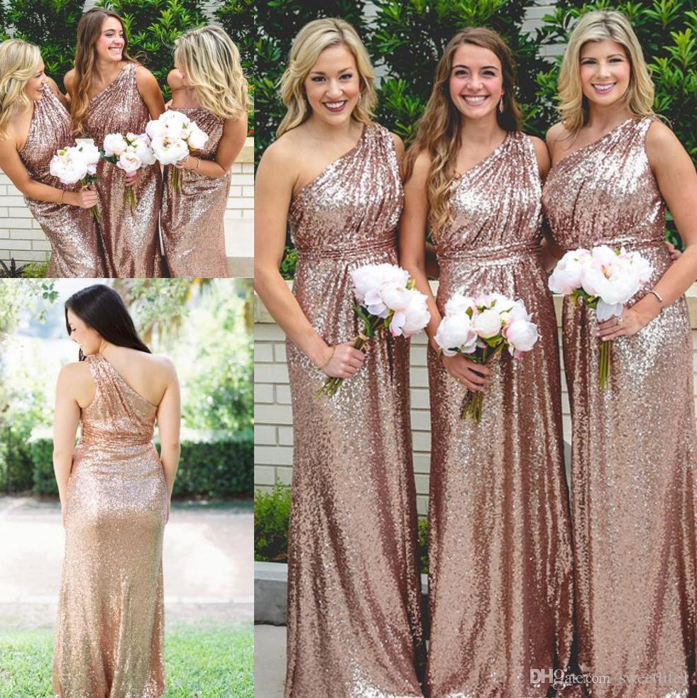 2020 Rose Gold dama de honra vestidos longos Modest mangas A Linha País casamento dama de honra Plus Size Prom Dresss