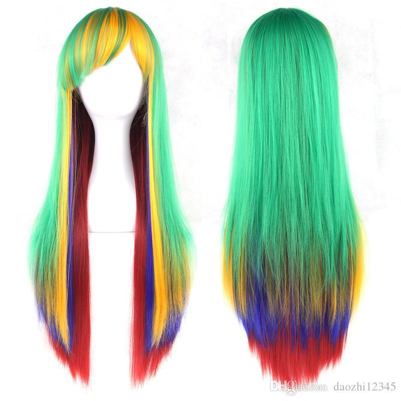 SHUOWEN Mix длина косплей синтетические волосы Remy парик партии Perruques смешать цвета длинные прямые парики Perruques 14 стилей доступны