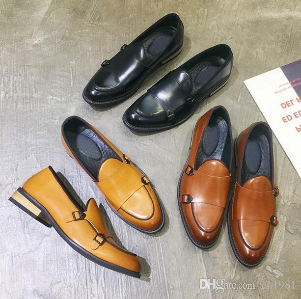 Новый сезон дизайнер Винтаж монах ремень мужчины роскошные оксфорды Британия платье обувь мокасины мода джентльмен мокасины партии квартиры плюс размер