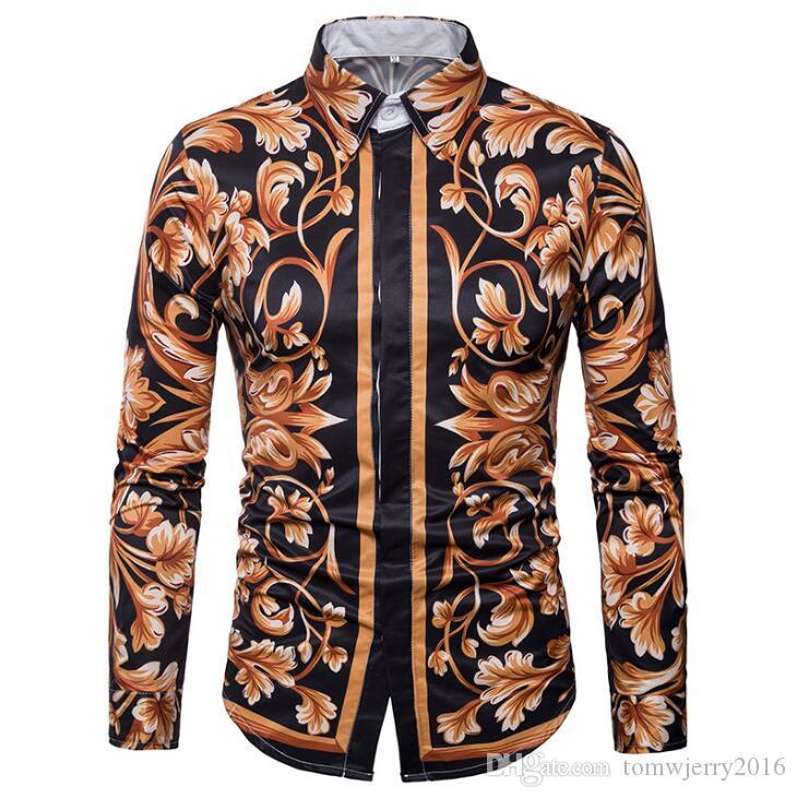 Le printemps et l'automne commerce extérieur nouveau à long col manches européennes ainsi que de la marque de mode américaine des hommes d'impression 3D créative Chemise à manches longues