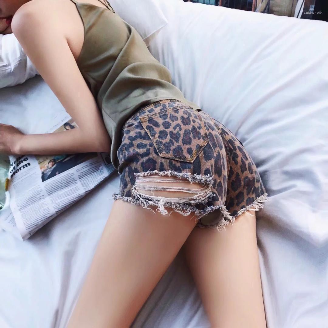 Delikler Düzenli Kadın Şort Tasarımcı Geniş Bacaklı Kadınlar Kısa Pantolon Leopar Seksi Kadın Yaz Şort Modası