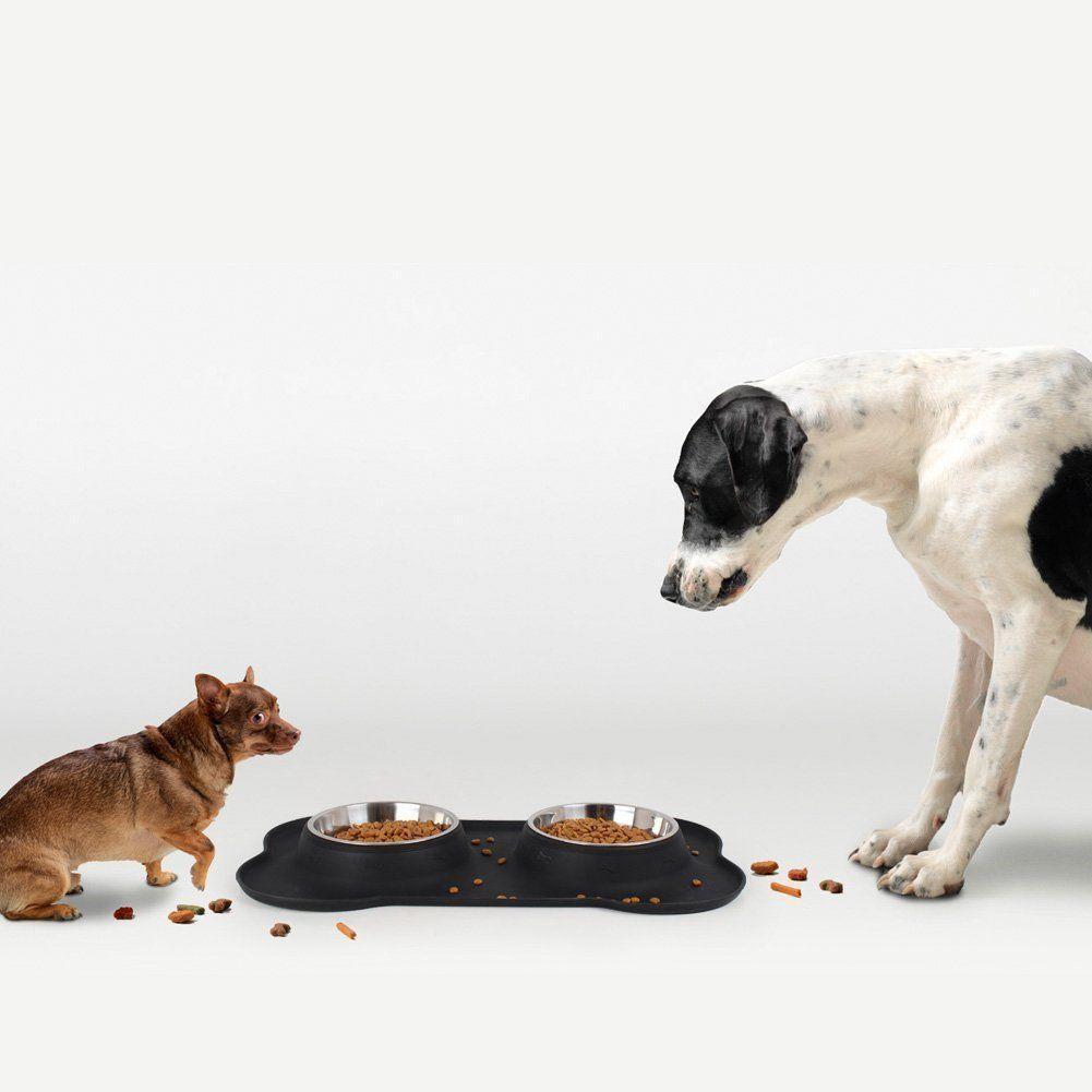 Pet Dog Gamelle double plat inoxydable Set acier d'alimentation en silicone Mat Support Aucun déversement Autopetfeeder vaisselle complète Dîner Set