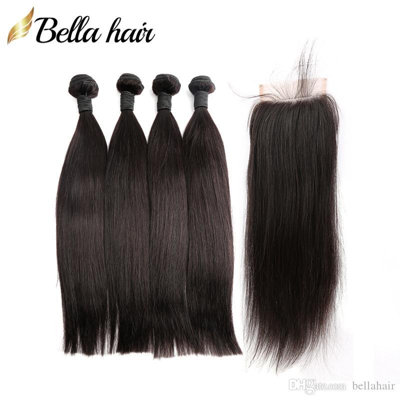 Tronco humano brasileño 4pcs con 1 unid Cierres Top Extensiones de cabello recto sedoso Troquía Doble Troquía Noaborse Virgin Hair Bundles Bella Hair