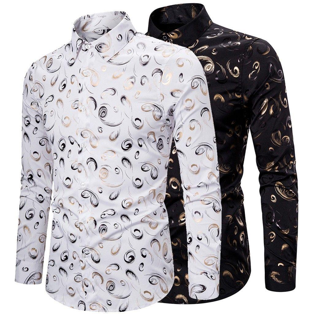 Fashion Men Casual Novelty Musical Note Print Long Sleeves Shirt Tops Blouse US