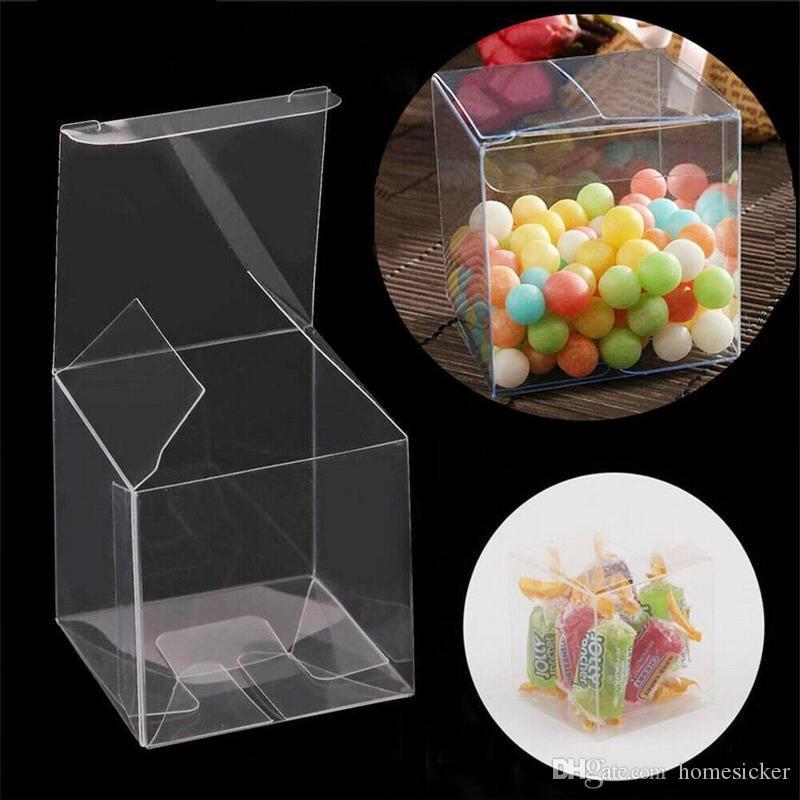 100 шт. Квадратный прозрачный PVC Box Party Ювелирные изделия Конфеты пластиковый ящик для хранения Clear Plastic Macaron Подарочная упаковка коробки