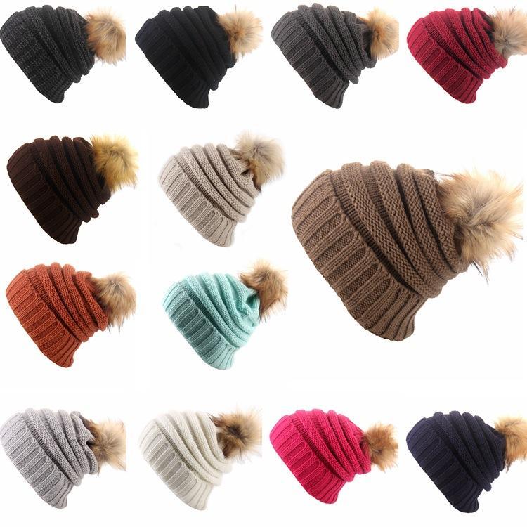 Hiver Femmes Chapeau Tricoté Filles Chaud Pom Pom Bonnets Boule De Fourrure Laine Chapeau Dames Crâne Bonnet plaine Crochet Ski En Plein Air Casquettes LJJA3092