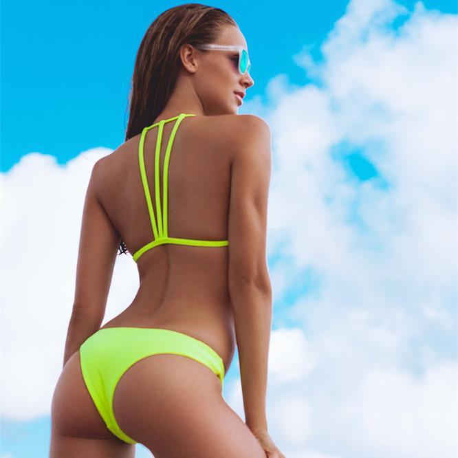 Últimas mujeres personalizar traje de baño Sexy Hot Young Girl Bikini fotos traje de baño de color puro traje de baño vendaje de alta flexibilidad dividida Bikini