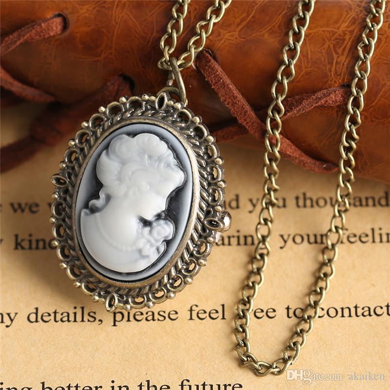 أزياء خمر أنيقة سيدة البيضاوي الشكل تصميم صغير الحجم كوارتز الجيب ووتش التناظرية عرض ساعة البلوز قلادة سلسلة هدية للمرأة