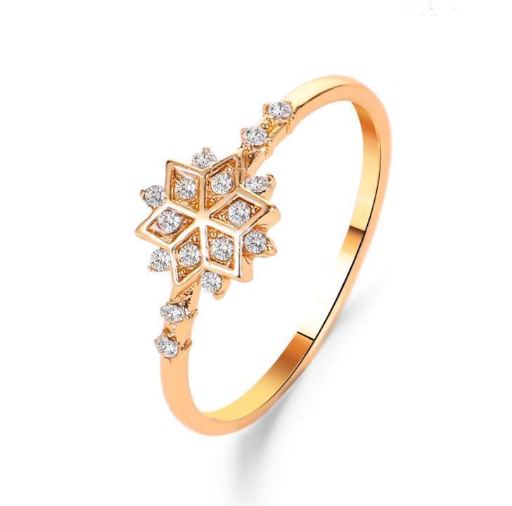 Donne di Cristallo Anello di nozze D'oro Cubic zirconia Fiocco di neve anelli di Fidanzamento Regalo Per Le Ragazze