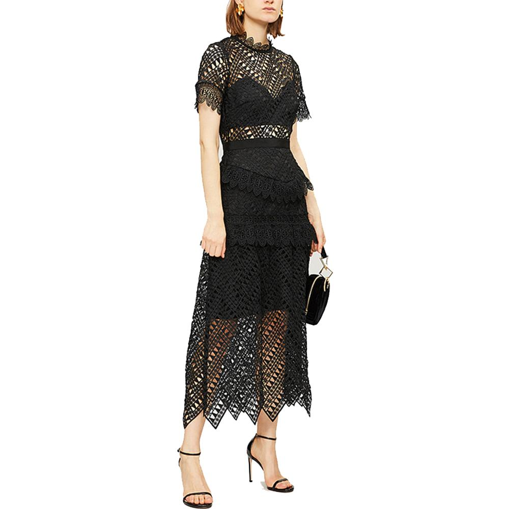 Best Quality Series,ladies Dinner Dress Black Lace Hallow Out Gift for Women Party Evening Prom Elegant Dresses 2991