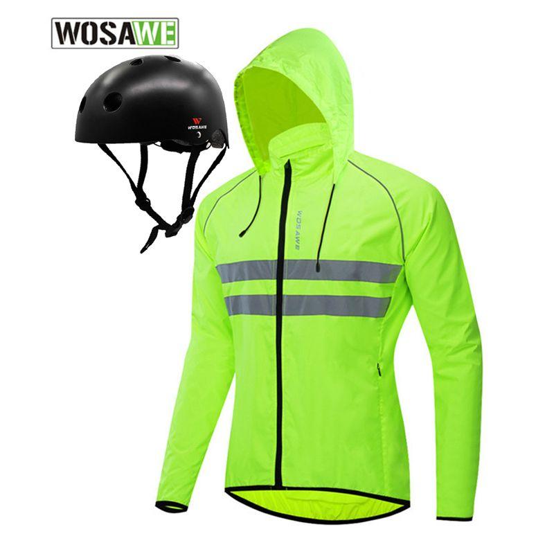 WOSAWE casque de moto Veste 2pcs légère coupe-vent à capuche Veste réfléchissante Doublure amovible Casque Motocross