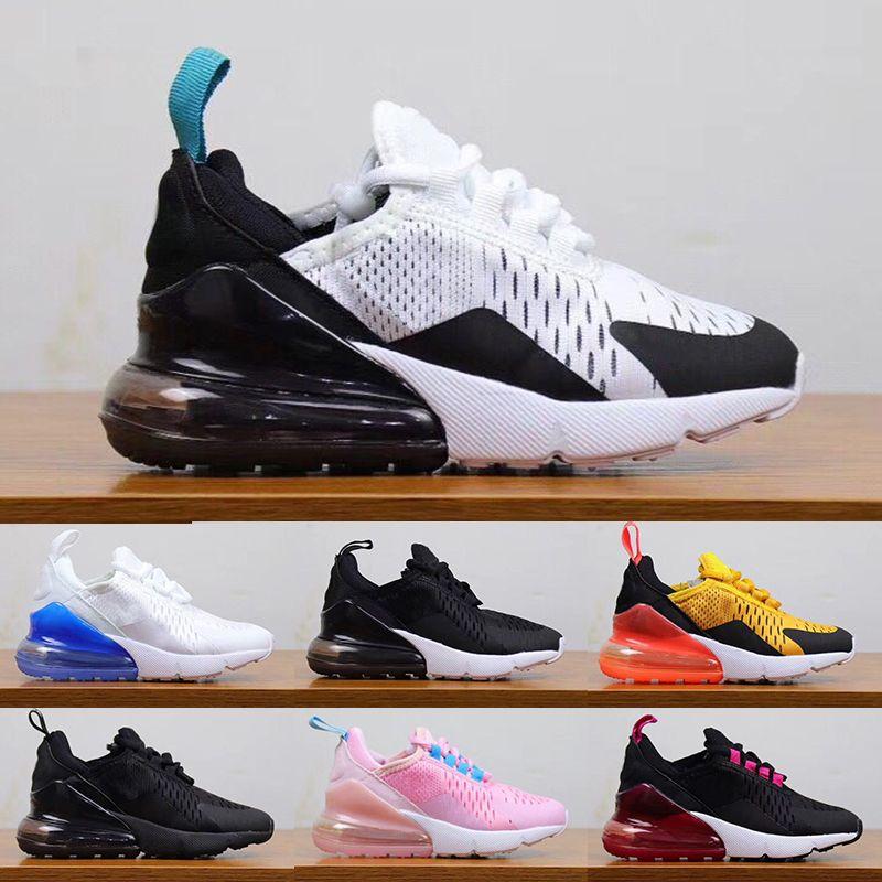 Nike Air Max 270 Grandes chaussures pour enfants chaussures enfants 27C garçons filles baskets baskets Tiger Hot Punch Rose Noir Blanc Air kid chaussures de course 28-35