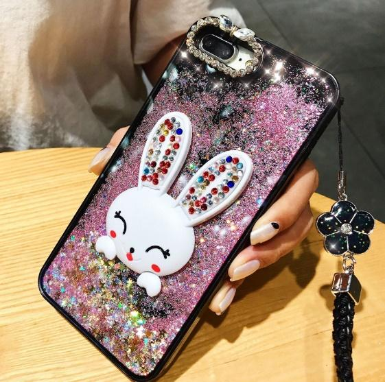 Bling Glitter Dynamic Quicksand Liquid Case For iPhone xs max xr X Cute Diamond Rabbit Phone Cases with lanyard