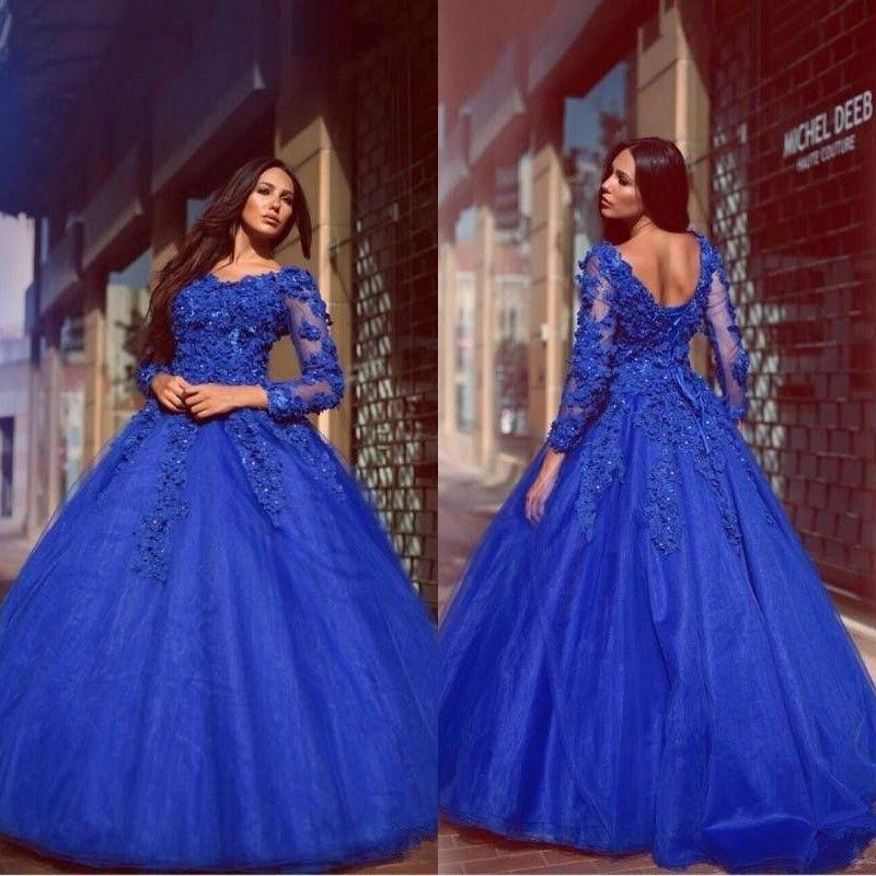 2018 Vintage Blue Quinceanera Sukienki z rękawami Puffy Spódnica Shiny Cyrstals 3d-Floral Lace Aplikacje Tulle Balowe Suknie Prom Dresses