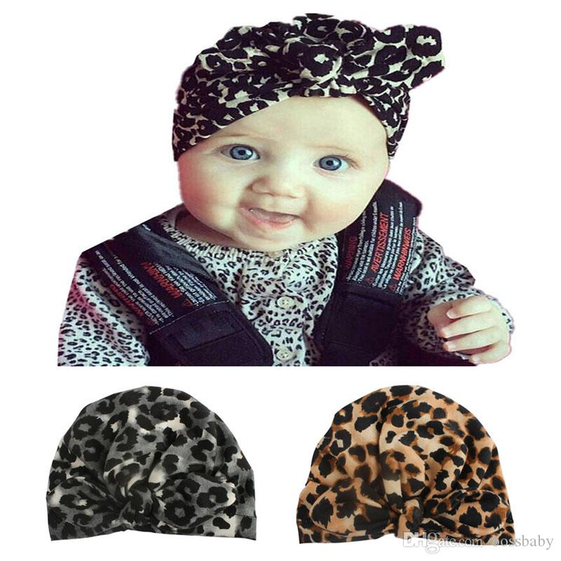 Newborn Baby Hats Bow Leopard Elastic Caps Infant Girls Hats Boy Autumn Winter Caps Kids Hat 0-4T 07