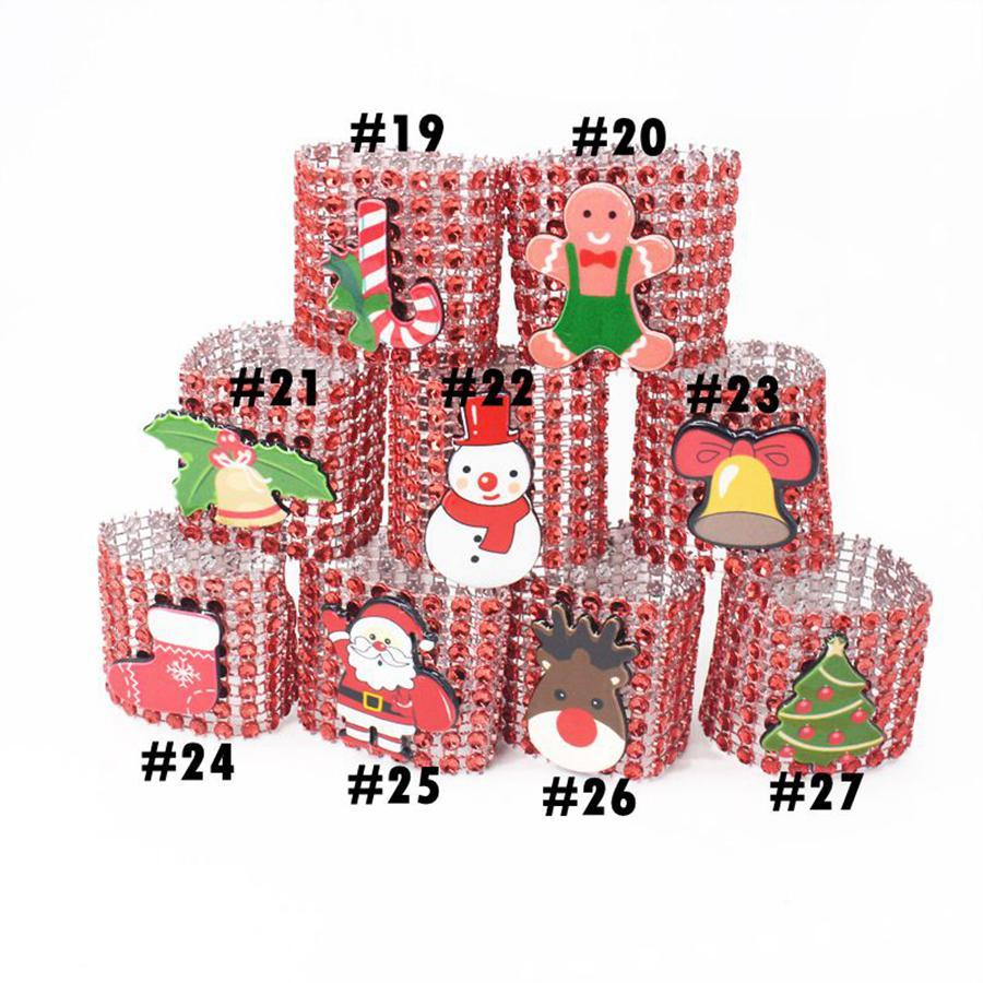 Christmas Napkin Rings 27 Styles Plastic Rhinestone Wrap Rings Chair Buckle Hotel Wedding Party Supplies OOA7268-2