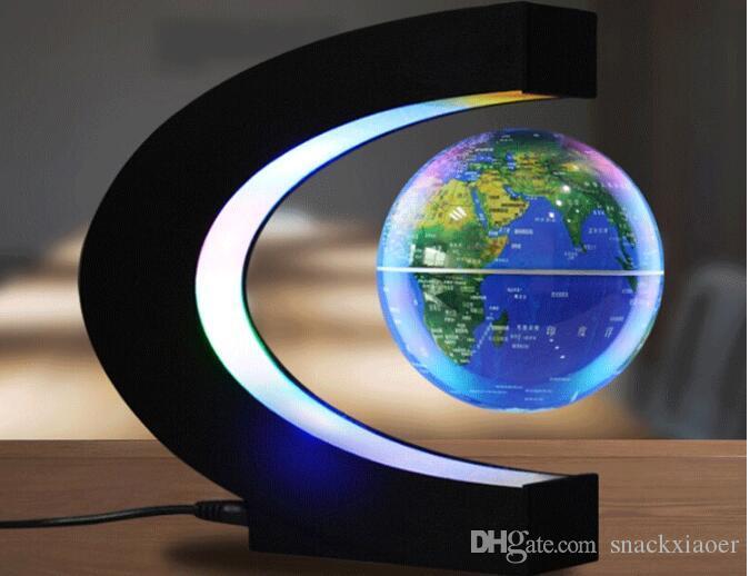 Forma C levitazione magnetica Geografia luce del globo Floating World Map tellurion LED Terrestre Children Learning Giocattoli Globe Antigravità Magia