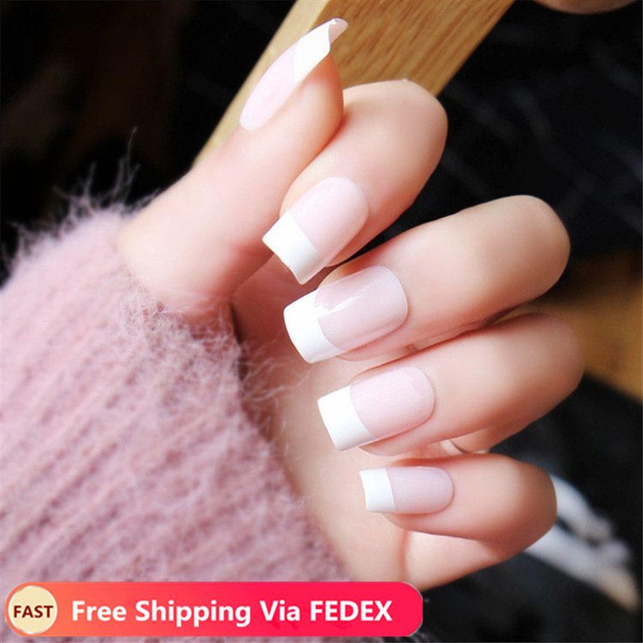 500pcs Fake Nails Capsule Ongle Transparent White False Nail Tips with Box Half Fake Nail Art Acrylic French Tips Manicure Set