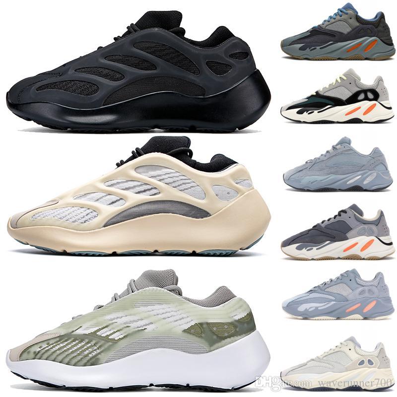 Kanye West 700 v3 des femmes des hommes Chaussures de course Alva Azeal Glow In The Dark v2 Magner solide gris bleu sarcelle styliste statique Chaussures de sport