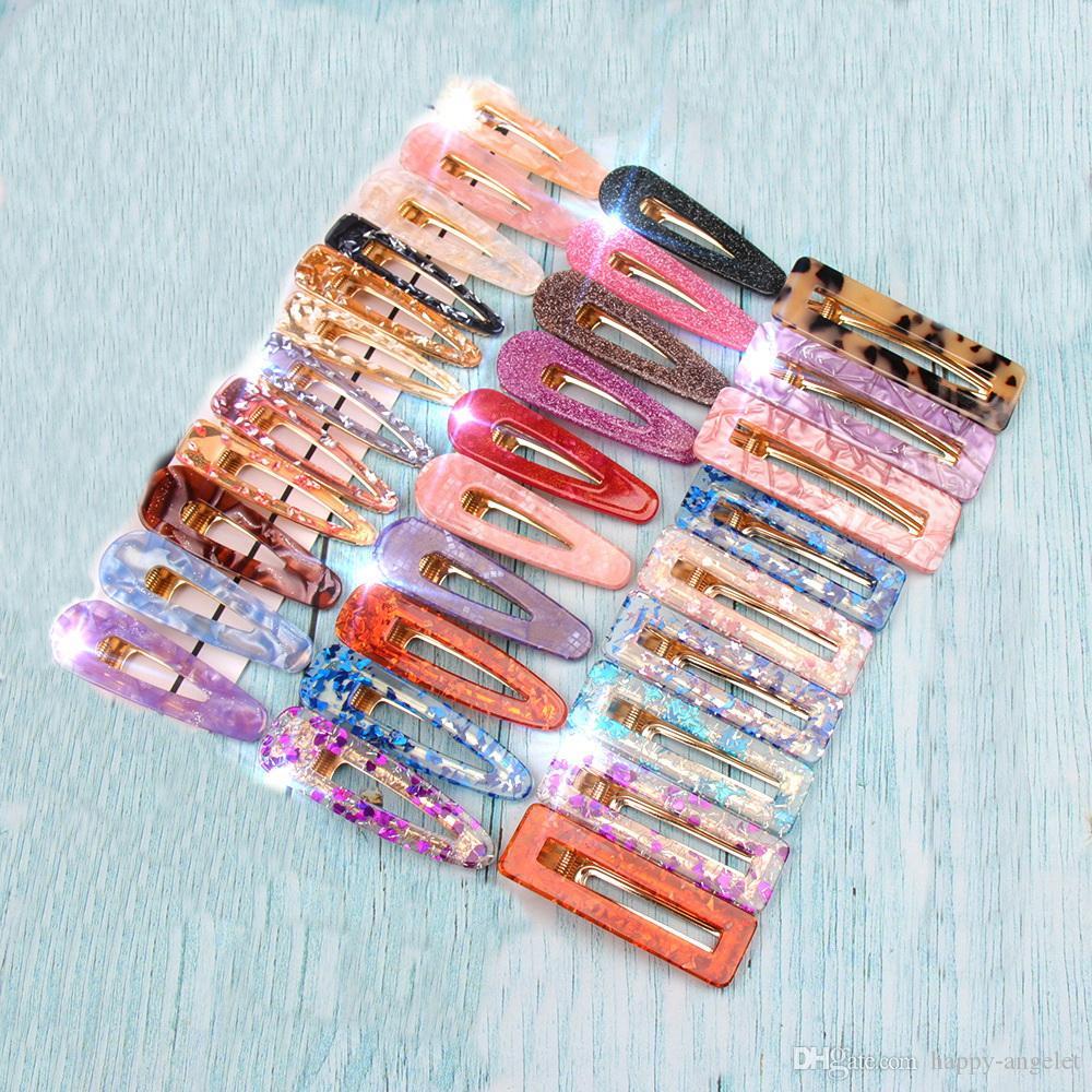 Acrylic Hair BB Clip Snap Barrettes Accessories Hairpin Women Girls Acetic Acid Leopard Rectangle Shiny Tin Foil Hairgrip 20pcs FJ901
