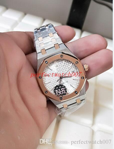 2021 Classic Series Luxury Men's Fashion Wristwatches Stainless White Dial N8 Factory Two Tone Gold Mechanical Transparent Mens Watch