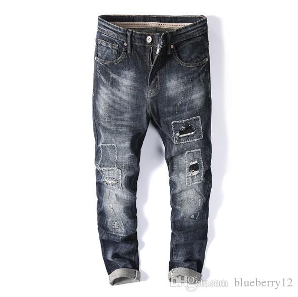 Pies vaqueros para hombre verano Agujero Patch tendencia de estiramiento delgados finos masculinos pantalones largos Tamaño recto asiática 28-38