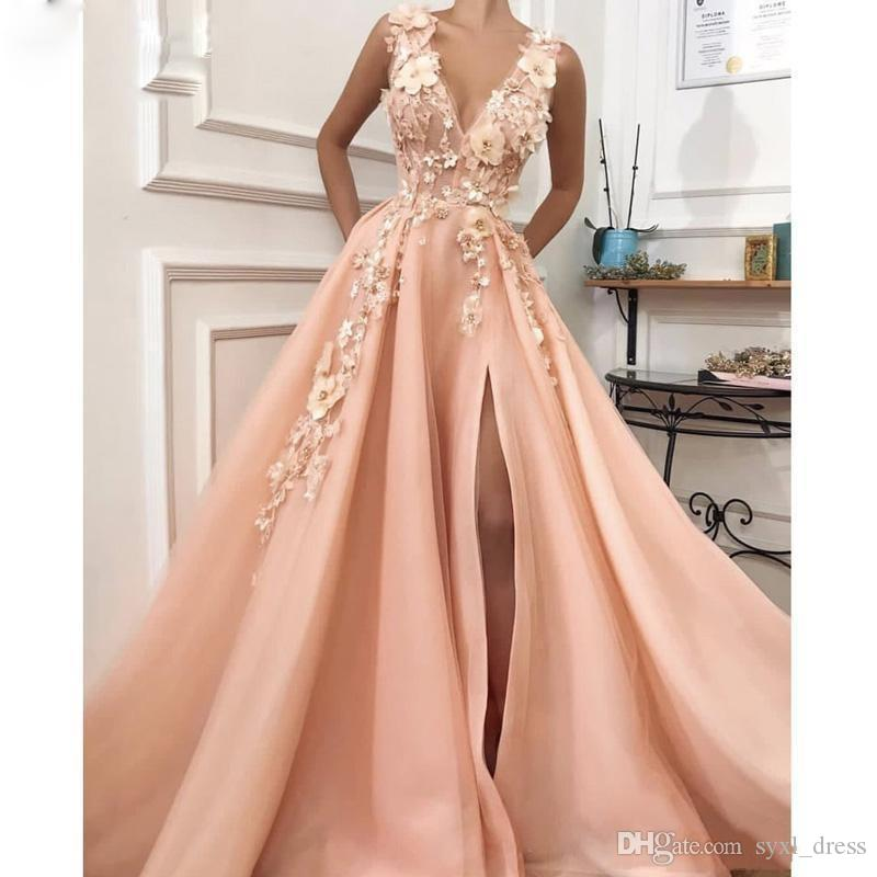 sale usa online cheaper most popular 2019 Sexy Peach A Line Prom Dresses Side Slit Deep V Neck 3D Flower Evening  Party Gowns Sweep Train Cocktail Gowns Missguided Prom Dresses Monsoon ...