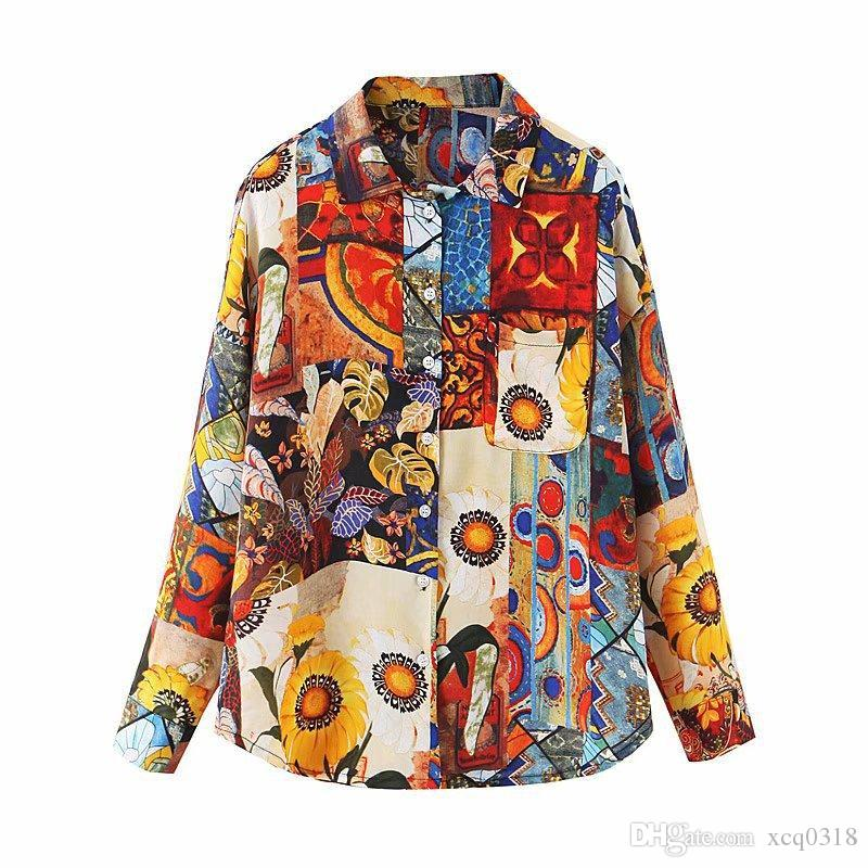 Cheerart vendimia girasol blusa holgada superior floral Pintura botón de la blusa de manga larga Camisa para las mujeres otoño suelta camisa de manga larga