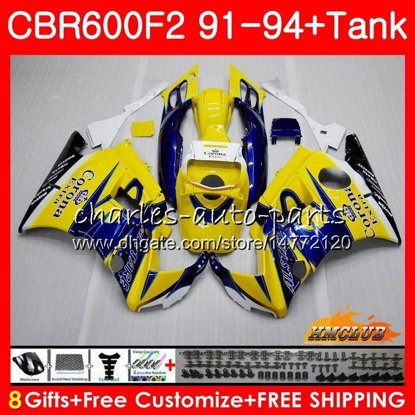Body + Serbatoio per Honda CBR 600F2 vendita Giallo CBR600FS CBR 600 FS F2 91 92 93 94 40HC.9 600cc CBR600 F2 CBR600F2 1991 1992 1993 1994 carenatura