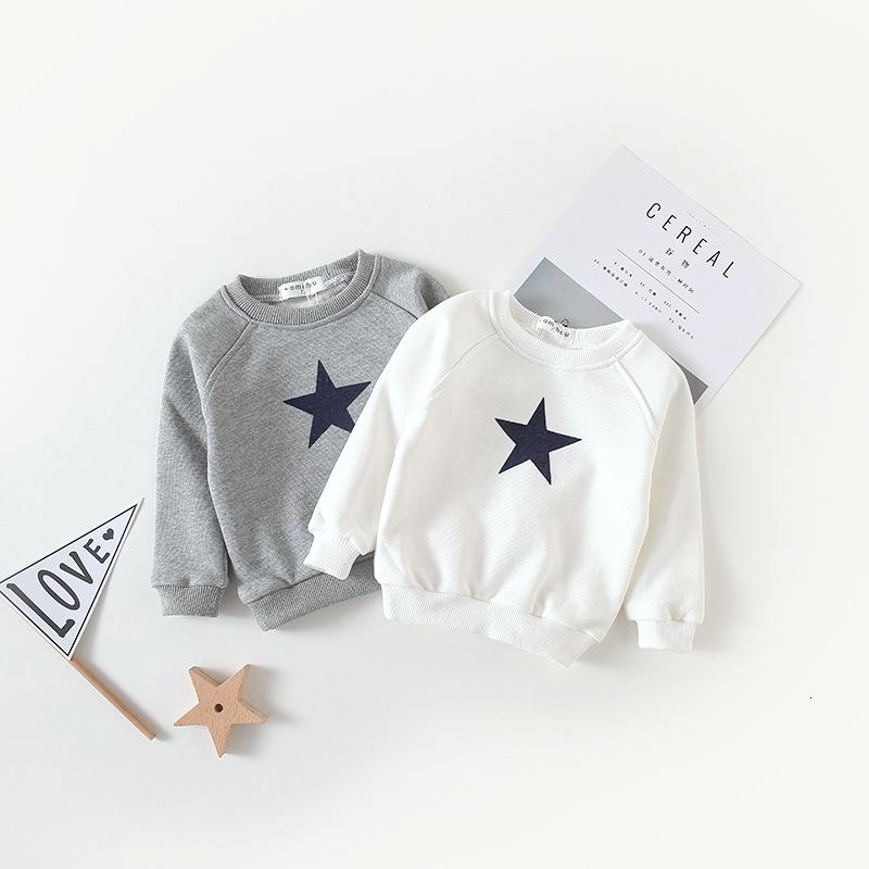 Kids Baby Boys Sweatshirts Star Printed Long Sleeve O-neck Tops Autumn T Shirt Clothing Children's Cotton Hoodies Costume T191013