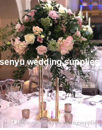 Tall Gold Metal Flower Support Stand Arch for Wedding Decoration Floral Arrangement Flower Display Stand senyu0005