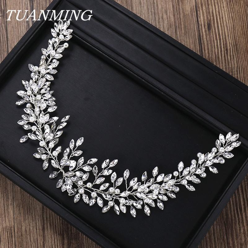 Cristallo perla Accessori fascia di cristallo strass sposa dei capelli della fascia delle donne sposa di cerimonia nuziale Hairband capo gioielli Y19051302
