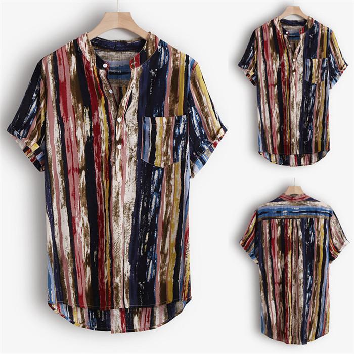 Одежда мода мандарин печатает короткие мужские повседневные рубашки рукава дизайнер лето воротник Homme Follow Asiia