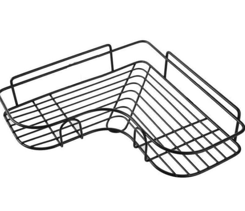 Accesorios de baño de corte libre Corner plataforma de baño accesorios de baño de hierro forjado de almacenamiento en rack de cocina estante de la pared del trípode