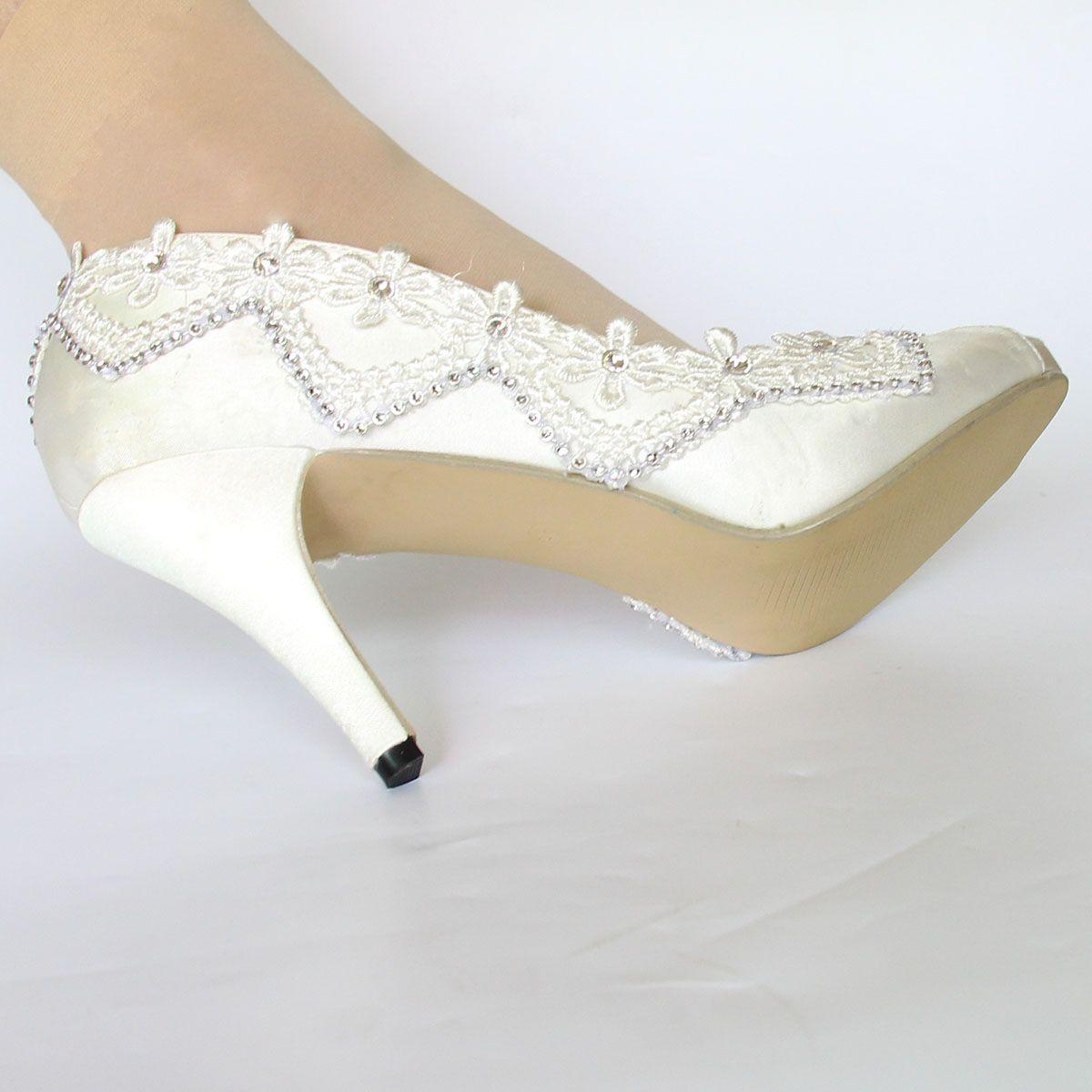 Free Ship High Heel White Ivory Silk Lace Open Toe Crystal Wedding